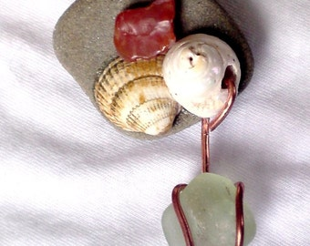 OOAK Brooch badge pin Sea shells Sea glass Carnelian on Pebble by Orchid's Orchard