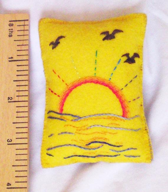 Pincushion embroidered sunrise sea rainbow rays birds on felt by Orchid's Orchard