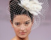 BIRD CAGE VEIL. Feathers headdress. Bridal veil. Fether fascinator, headpiece. White, ivory, champagne, black