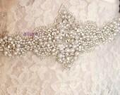 Sophisticated PEARLS BRIDAL SASH, Bridal Belt, Wedding Sash, Rhinestone Bridal Sash with Amazing Pearls and Crystals