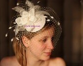 BIRDCAGE VEIL , wedding hat, fabulous headdress, bridal hat. Amazing bird cage veil with head piece