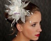 Wedding  HAIR FLOWER with veil, fabulous wedding head piece, hairdress, beautifull flower, feathers and crystals