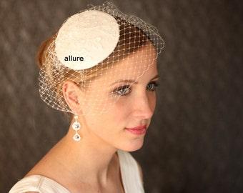 ivory  BIRDCAGE VEIL ,  vintage wedding hat, bridal hat. wedding headpiece