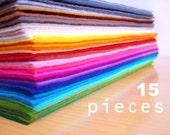 15 wool felt pieces15x20cm - Choose your colors -Irisfelt-