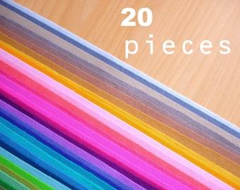 20 wool felt pieces 20x30cm - Choose your colors -Irisfelt-