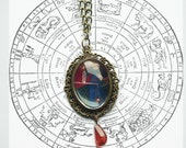 Vintage Medieval style Libra zodiac image drop necklace, cameo style