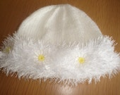 SNOW BABY white furry trimmed hat, mittens and bootees. Daisy trim. NEWBORN to 6 months