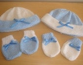 NEWBORN to 6 months blue baby hat and mittens BABY BOY.. Hand Knitted
