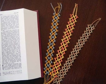 Tatting Lace Bookmarks - Three bookmarks tatting-Handmade  bookmarks-for Schools-gift for teather- for reading-OOAK-multicolor bookmarks