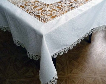 Table linen set with handmade lace - Handmade large tablecloth and 12 napkins -  Unique gift - wedding -  anniversary -OOAK