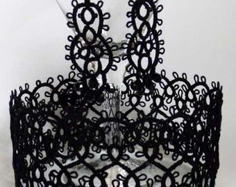 Black tatting earrings with beads and necklace - Needlecraft Accessories - tatting jewerly - for Her