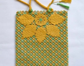 "OOAK Bag - Tatting bag ""Autumn"" - Gift for her - yellow-green bag"