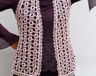 Tatting handmade pink vest - for women - for her - New Vintage