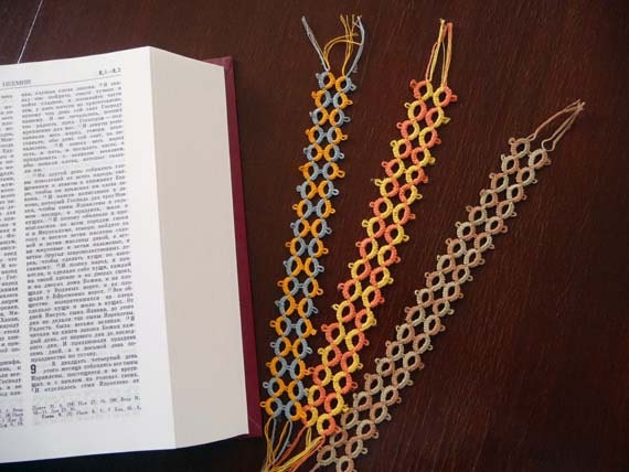 Three bookmarks tatting - Tatting bookmarks in  cotton thread - Handmade  bookmarks - for Schools