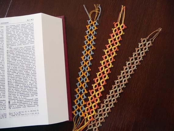 Three bookmarks tatting - Tatting bookmarks in  cotton thread - Handmade  bookmarks - for Schools