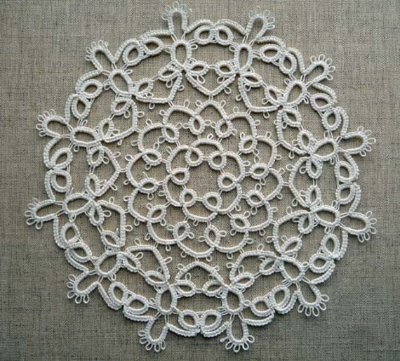 Handcrafted  tatting doily ivory and  Handcrafted tatting Round Doily white -  custom order for Kristin Wightman