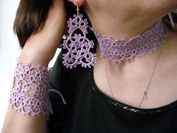 Tatting handmade jewelry wood violet .