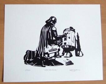 Darth Vader Star Wars Vader Goes Postal Hand Pulled Limited Edition Screen Print