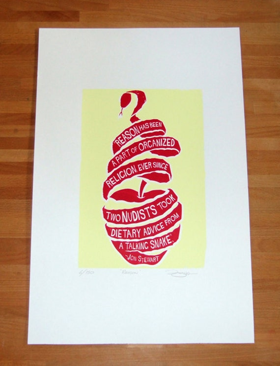 Hand Pulled Limited Edition Jon Stewart Reason Screen Print