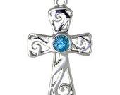 Cross Blue Topaz Sterling Silver Pendant