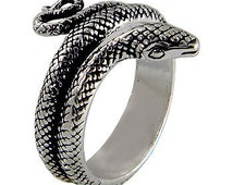 Snake wrap 925 sterling silver solid ring (OP  482 )