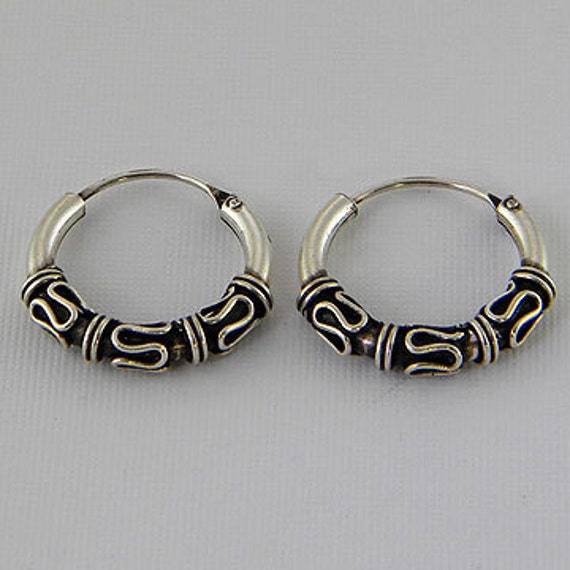 Sterling Silver Earrings . Round Shape Silver Earrings, Black Oxidized Earrings