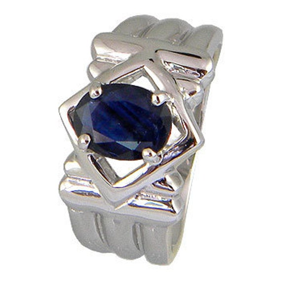 Blue Sapphire Ring, Blue Sapphire Sterling Silver Men Ring, Solid Band Men Blue Sapphire Ring, Pretty Sturdy Silver Ring,  (MN 41 )