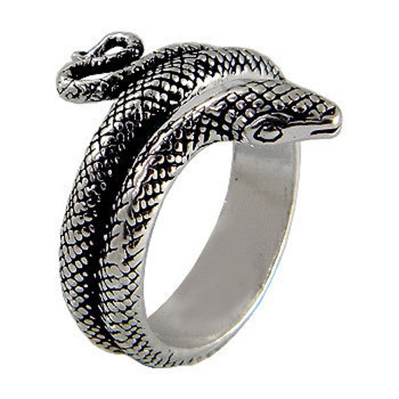 snake ring sterling silver with black oxidized op by