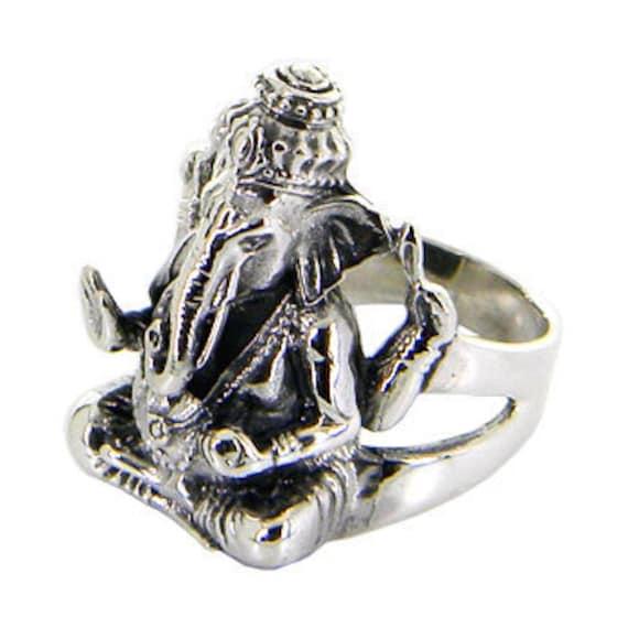 Lord Ganesh Idol Sterling silver ring/ Black Oxidized ring for perfect look, Pretty Heavy Ring  (PLRJK 480 )
