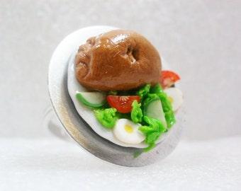 Cornish Pasty Ring. Polymer Clay.