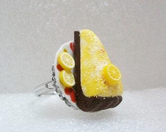 Lemon Cheesecake Ring. Polymer Clay.