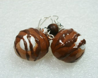 Chocolate Profiterole Earrings. Polymer clay.