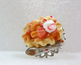 Strawberry Waffle Ring. Polymer Clay.