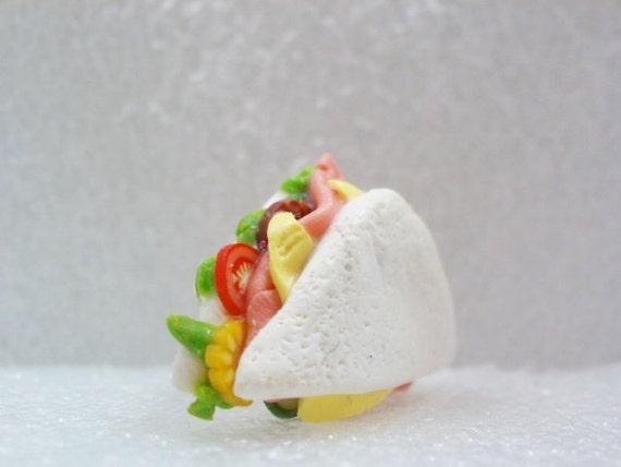 Ham sandwich Tie Tack Pin. Polymer Clay.