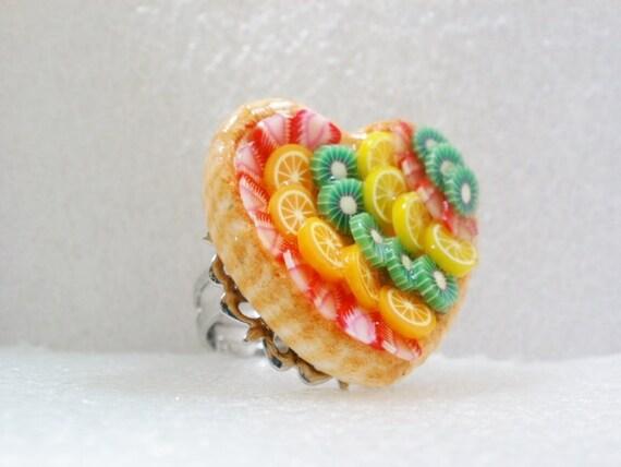 Fruit Tart Ring. Polymer Clay.