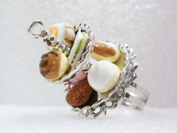 Cake Stand Ring. Polymer Clay.