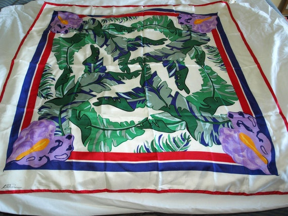 Anne Klein Vintage Silk Scarf - Vera Companies - Tropical Print Silk Scarf