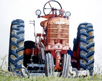 Print of Farmall Tractor from original watercolor