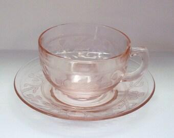 Hazel Atlas PINK Shamrock CLOVERLEAF Cup & Saucer Depression Glass
