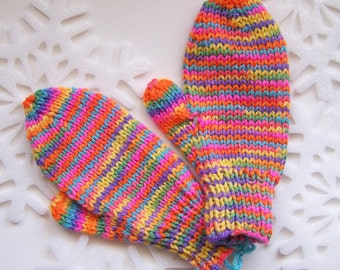 Handknit Childrens Rainbow Variegated Acrylic Yarn - Size Medium