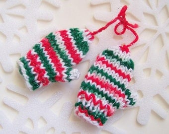 Handknit Christmas Mini MITTEN ORNAMENTS - Red, White & Green Variegated Yarn - fits American Girl Doll Clothes