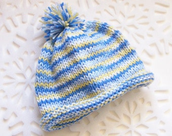 Childs Rolled Brim Knit Pom Pom HAT - Blue and Yellow Striped Variegated Acrylic Yarn