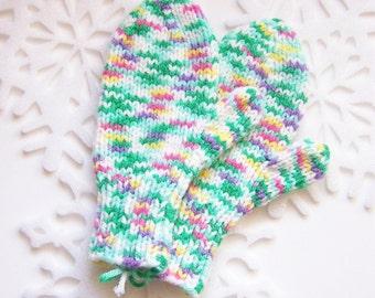 Handknit Childrens MITTENS Medium Size Variegated Acrylic Yarn - White Pink Green