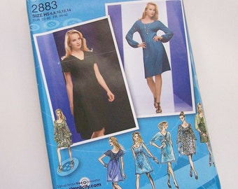 Simplicity 2883 UNCUT Sewing Pattern Project Runway Misses KNIT DRESS with Twist Front -  Sizes 6-14 and 14-22