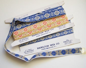 Vintage Trio of Floral Woven JACQUARD Sewing TRIMS by Hamilton Web / North Kingstown RI 1960s