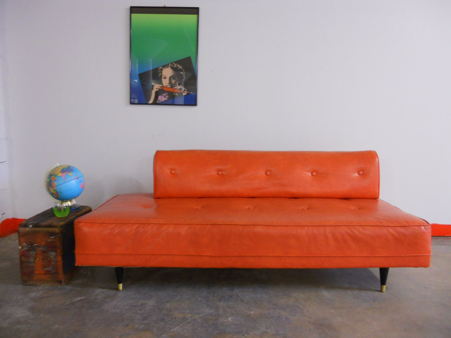 Sale Pending Dark Orange Mid Century Sofa