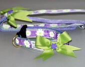 Lilca with white dasies collar and leash set With Bow and Flower centre