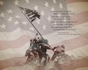 Flag Raising on Mount Surabachi, Iwo Jima, USMC, American Flag, National Anthem