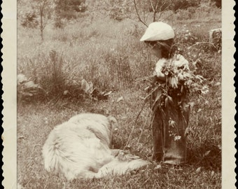 Picking Flowers with Buddy, Sepia Tint Photo, 1949, Child with Dog, Field of Wildflowers, Digital Print