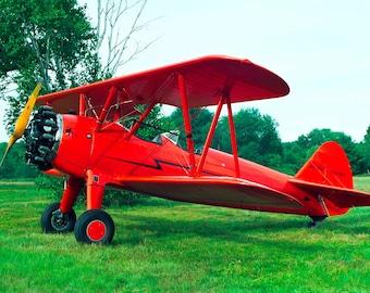1943 Boeing A75N1 PT17 Stearman, Red Biplane, Open Cockpit Airplane, Aeroplane, Taildragger